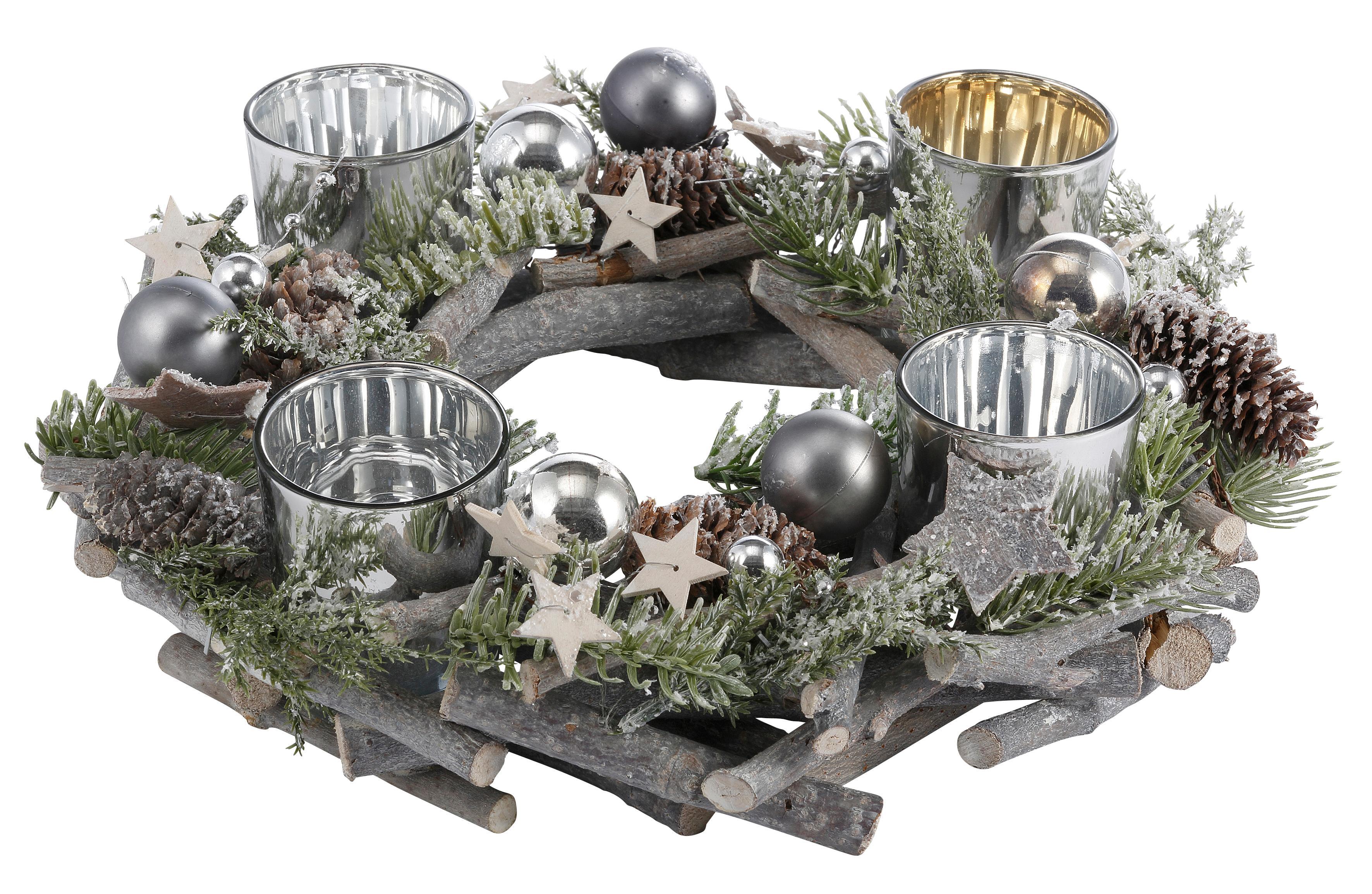 Echtholz Adventskranz für 4 Teelichter, Ø 30 cm | Weihnachten > Adventskranz und Weinachtsleuchter | Grau | Glas | QUELLE