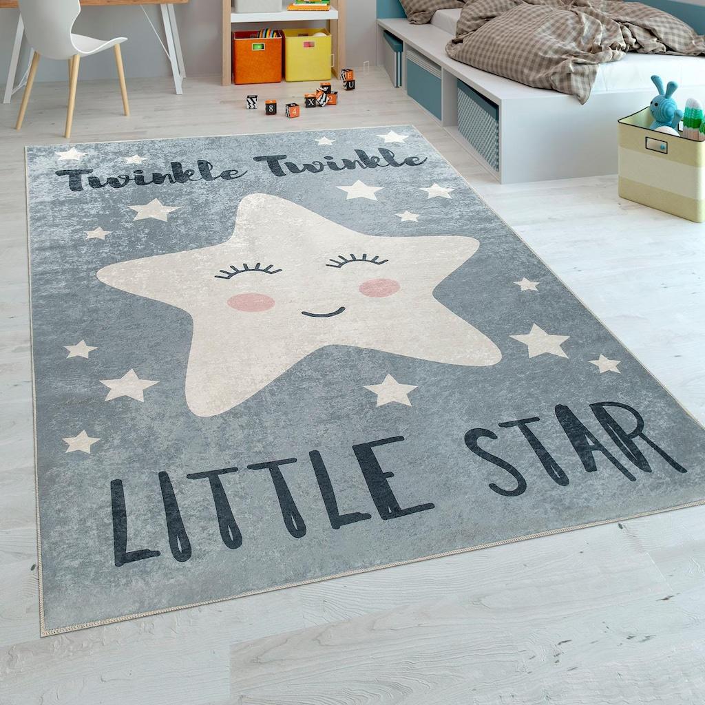 Paco Home Kinderteppich »Aleyna 105«, rechteckig, 6 mm Höhe, Kinder Design, niedliches Stern Motiv mit Print, Kinderzimmer