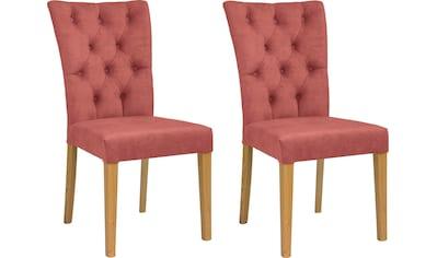 Leonique Stuhl »Peillon«, mit Knopfsteppung und Beinen aus massiver Eiche kaufen