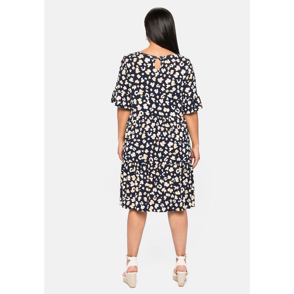 Sheego Jerseykleid, mit Alloverdruck und Volants
