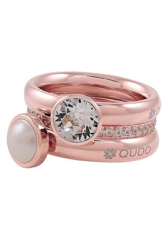 qudo Ring-Set »IC, O600112, O600113, O600114, O600115, O600116«, (Set, 5 tlg.), mit abnehmbaren Elementen, Zirkonia, Swarovski® Kristallen und Swarovski® Perle kaufen