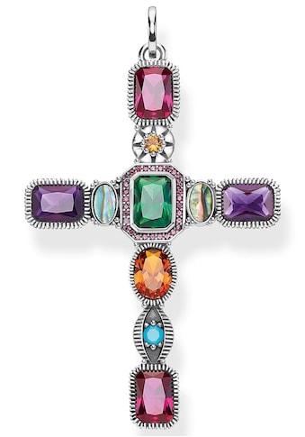 THOMAS SABO Kettenanhänger »Kreuz farbige Steine, PE859-294-7«, mit Perlmutt, synth.... kaufen