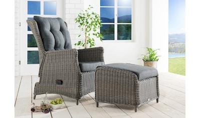 DESTINY Gartenmöbelset »Casa«, 5 - tlg., Sessel, Fußhocker, Alu/Polyrattan kaufen
