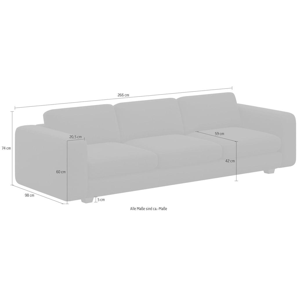 machalke® 4-Sitzer »valentino«, mit breiten Armlehnen, Füße Walnuss, Breite 266 cm