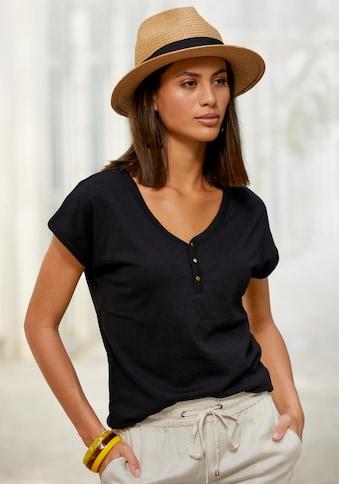 Vivance T-Shirt, mit Knopfleiste und goldfarbenen Knöpfen kaufen