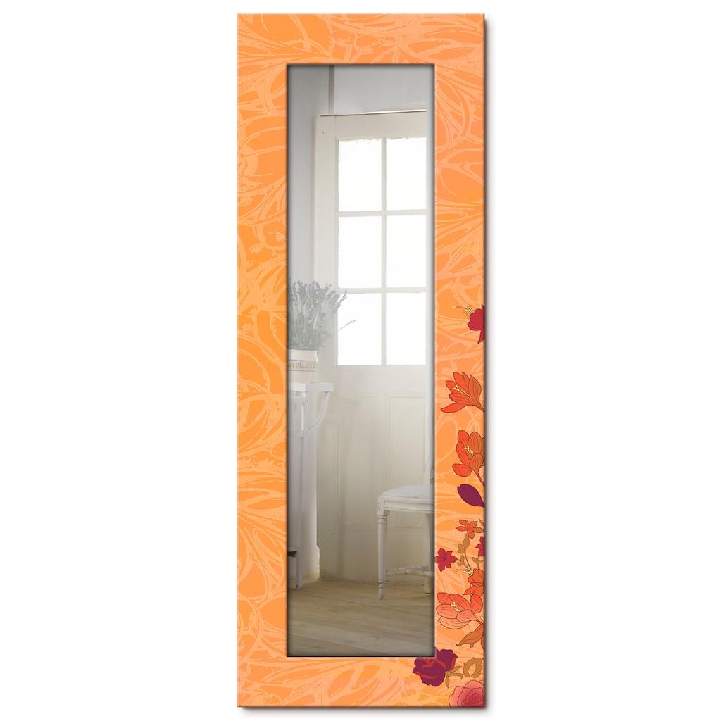 Artland Wandspiegel »Blumen orange«, gerahmter Ganzkörperspiegel mit Motivrahmen, geeignet für kleinen, schmalen Flur, Flurspiegel, Mirror Spiegel gerahmt zum Aufhängen
