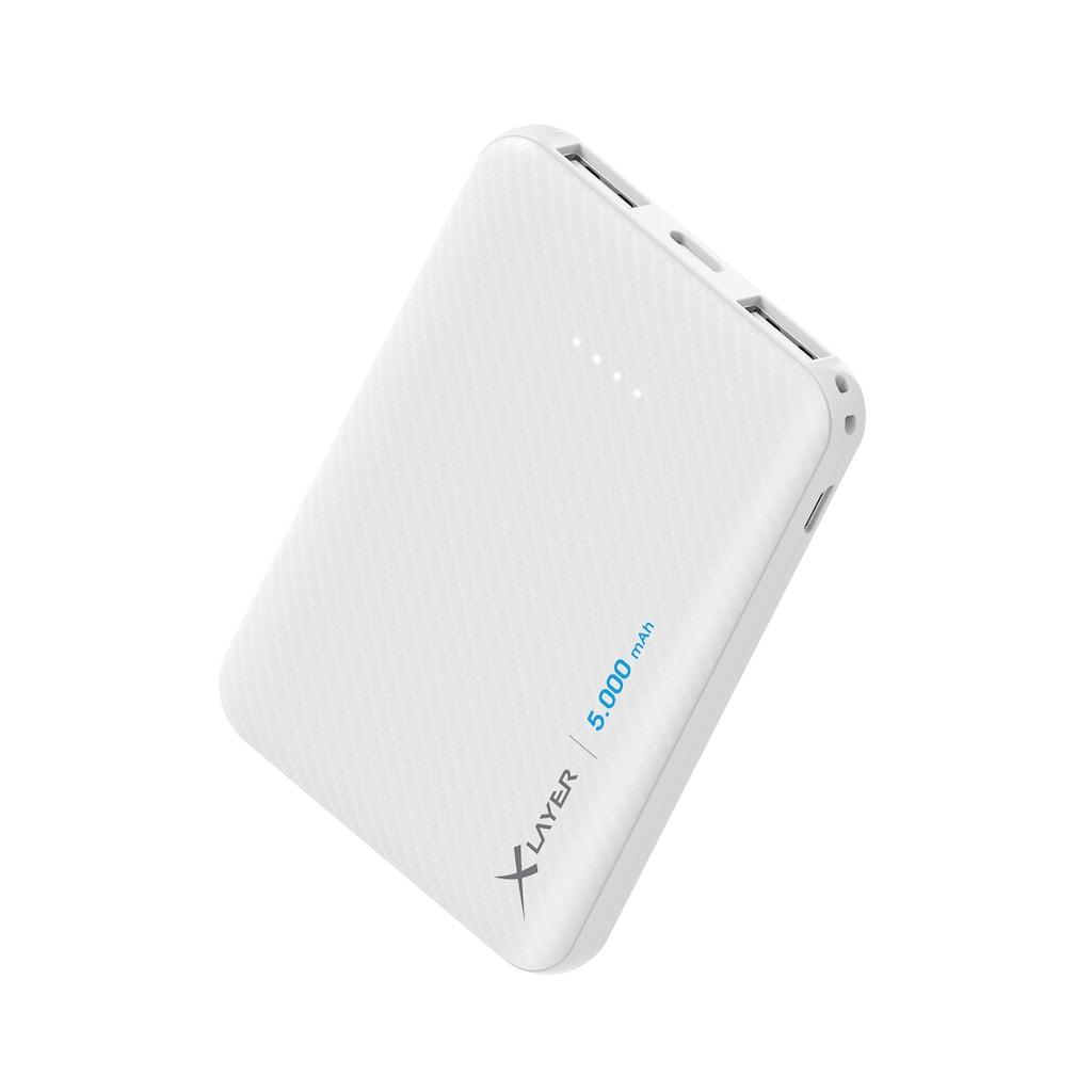 XLAYER Zusatzakku »Powerbank Micro Carbon White 5000mAh Smartphones/T«