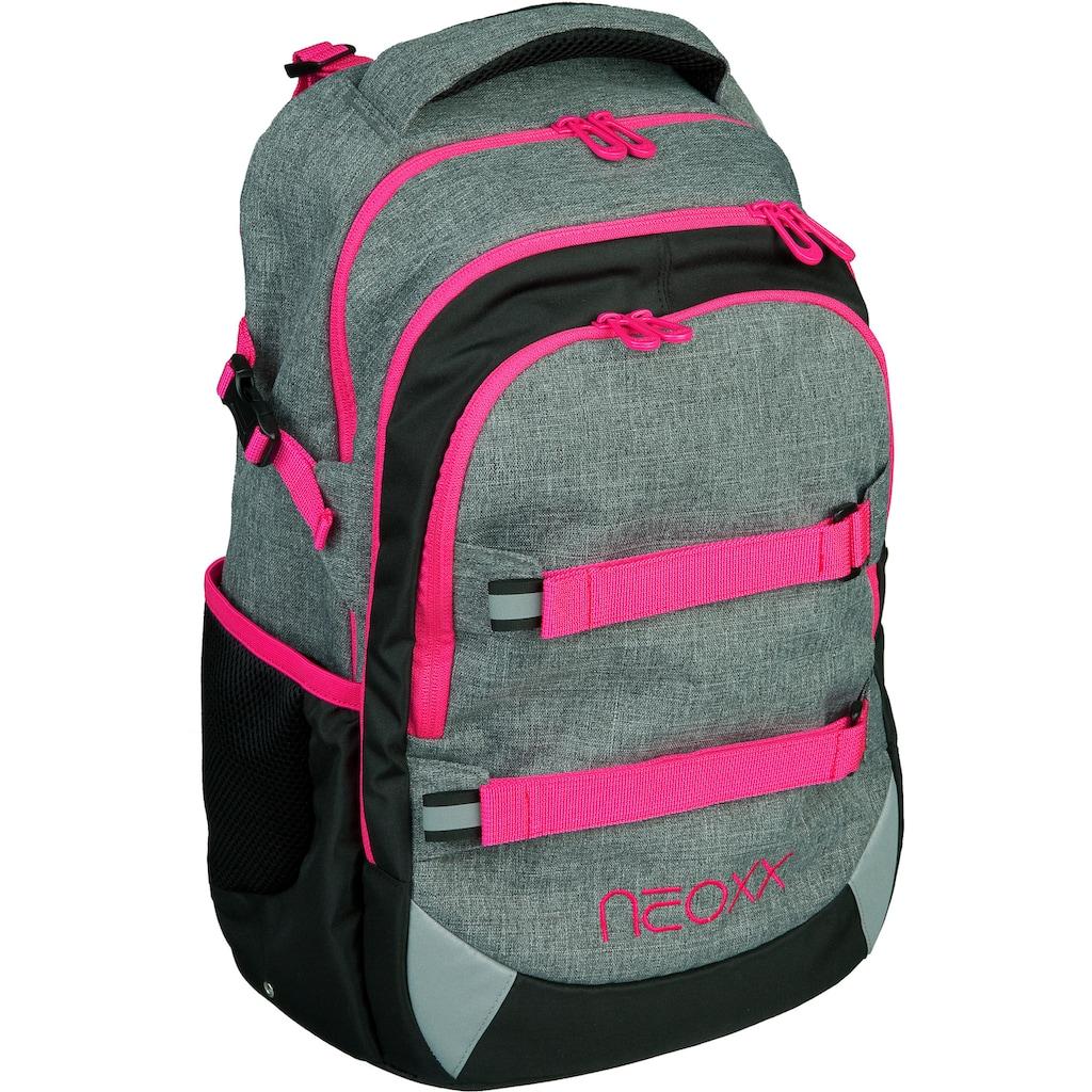 neoxx Schulrucksack »Active, Pink and Famous«, aus recycelten PET-Flaschen