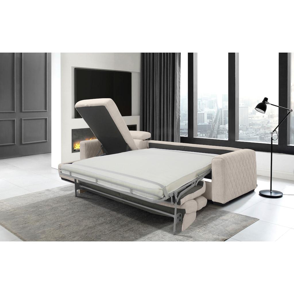 Places of Style Schlafsofa »Parkville«, In 2 Bezugsqualitäten, inkl. Bettfunktion und Bettkasten
