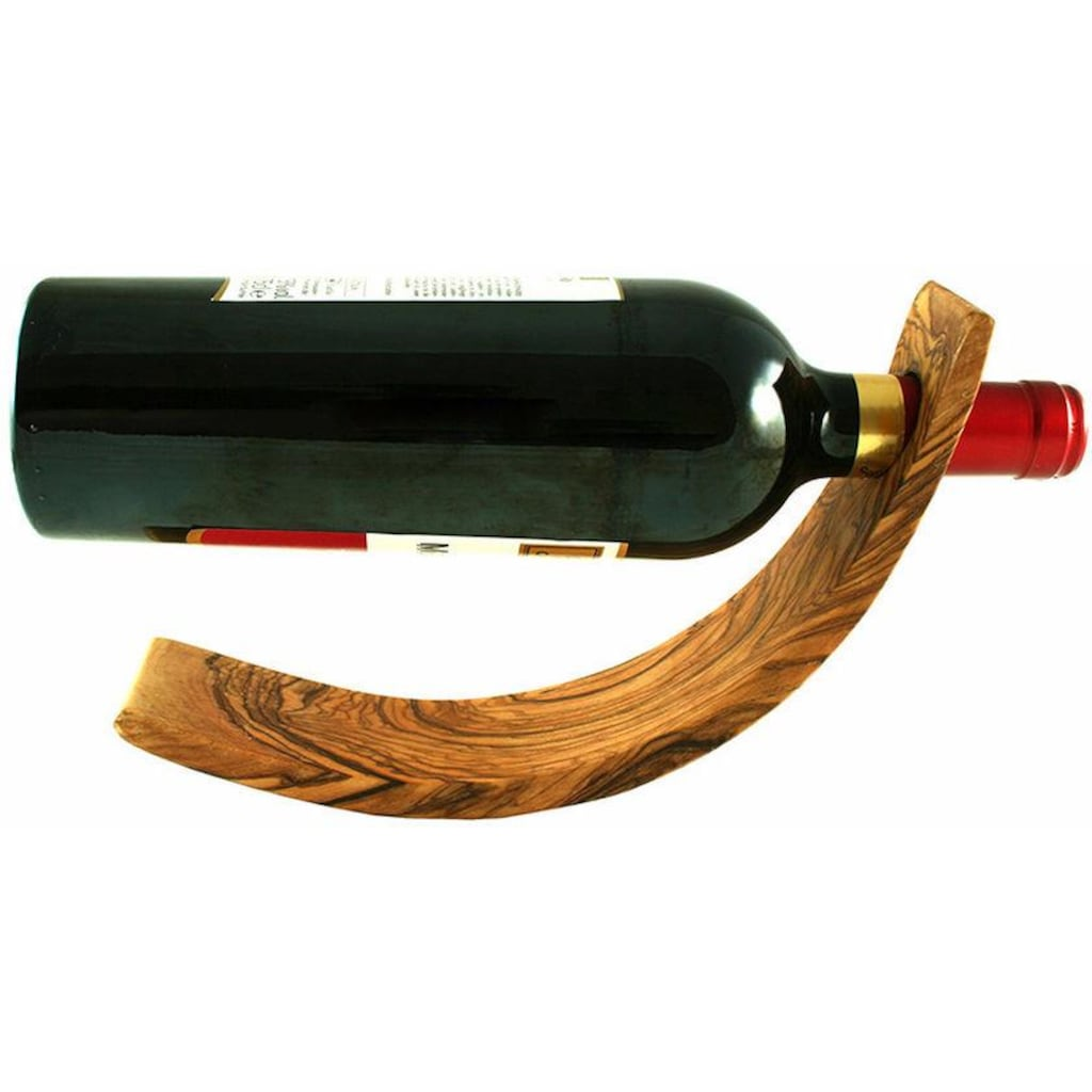 Olivenholz-erleben Weinflaschenhalter »Mond«