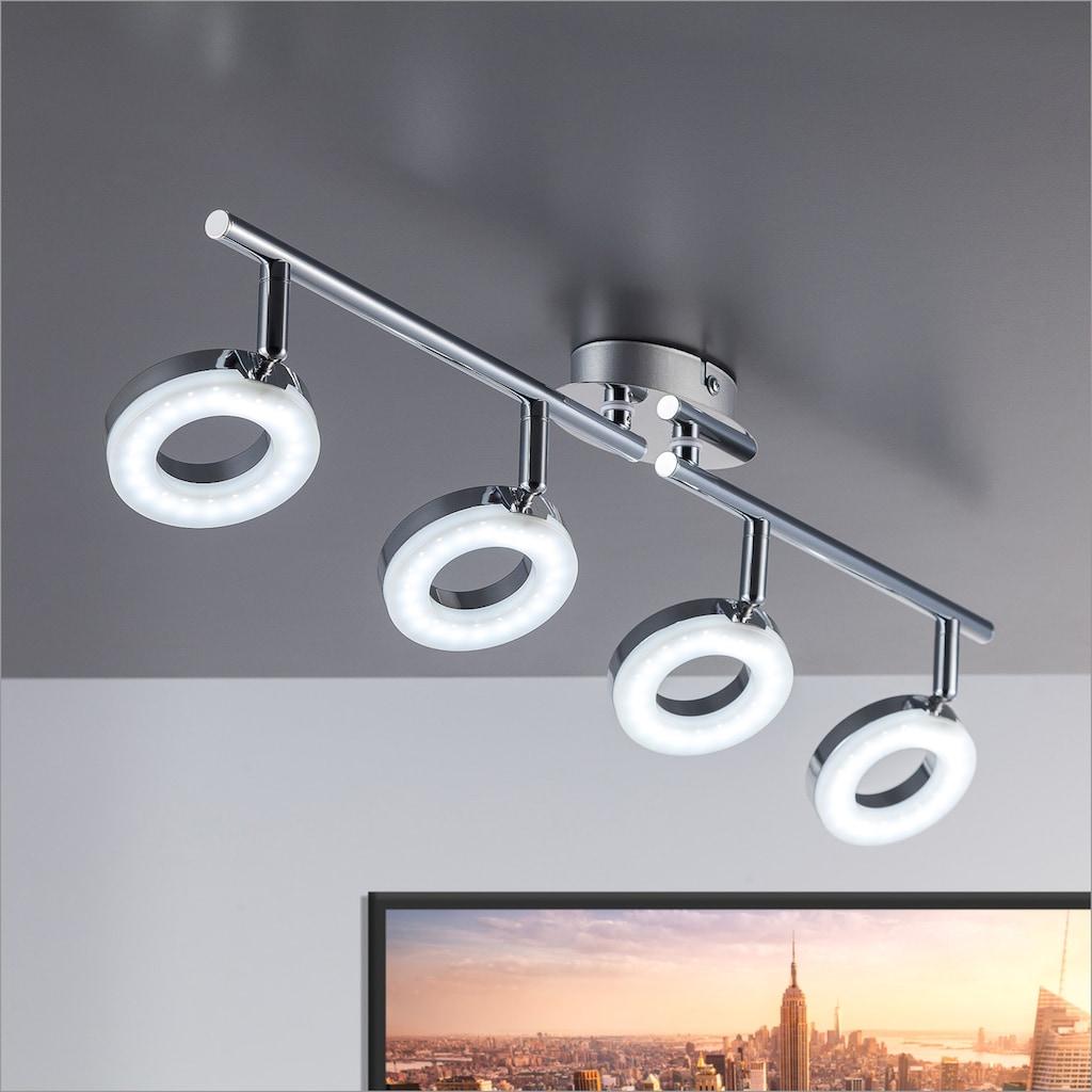 B.K.Licht LED Deckenspots »Yuna 4«, LED-Board, Warmweiß, LED Deckenleuchte modern Deckenlampe Wohnzimmer Spot Strahler schwenkbar