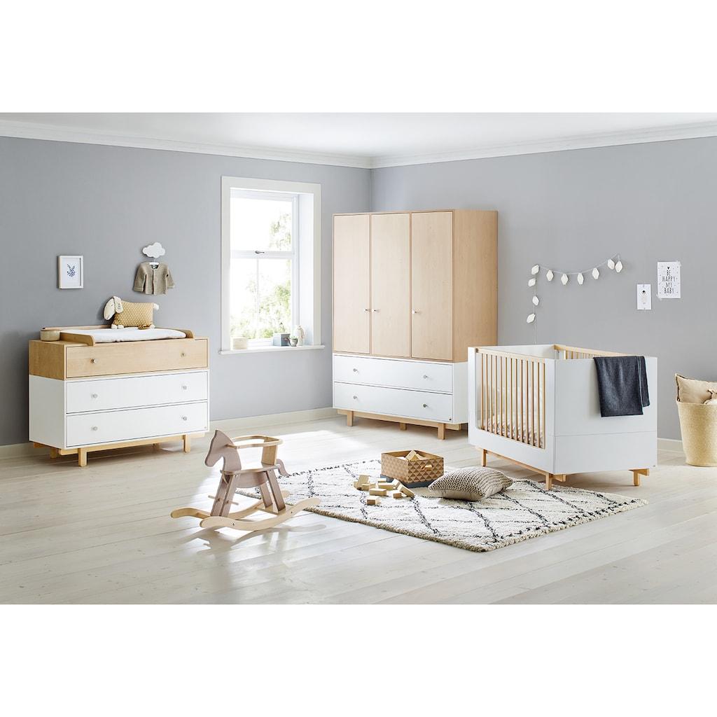 Pinolino® Babyzimmer-Komplettset »Boks«, (Set, 3 St.), 3-trg. breit groß; mit Kinderbett, Schrank und Wickelkommode; Made in Europe