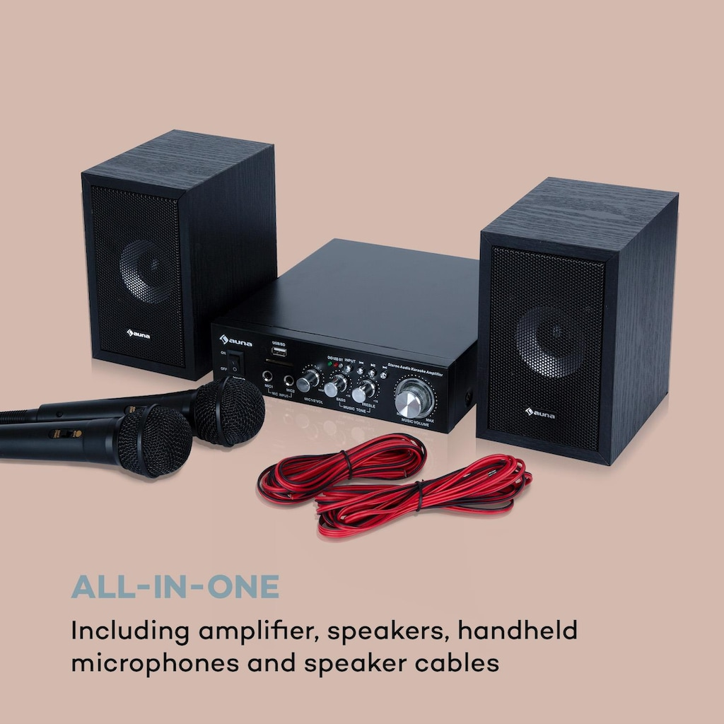 Auna Karaoke-Set, 2 x 50 W max., BT, USB/SD, Line-In, 2 x Mikro »Karaoke Star 2«