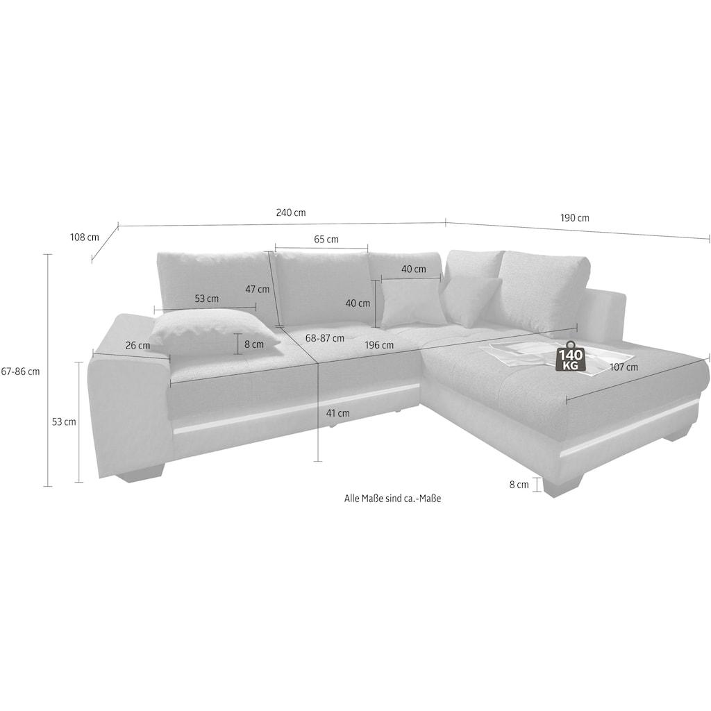 Nova Via Ecksofa, wahlweise mit Kaltschaum (140kg Belastung/Sitz), mit RGB-LED-Beleuchtung, Bluetooth-Soundsystem und Bettfunktion