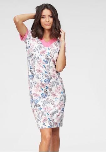 Cybèle Nachthemd, mit Kontrastblende an Ärmeln und V-Ausschnitt kaufen