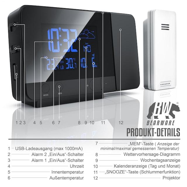 BEARWARE Funk-Wetterstation mit Projektionsanzeige & Außensensor »DCF-Funkuhr / Wettervorhersage«