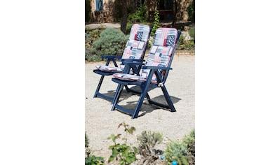 Best Gartenstuhl »Elise«, 2er Set, Kunststoff, verstellbar, blau, inkl. Auflage kaufen