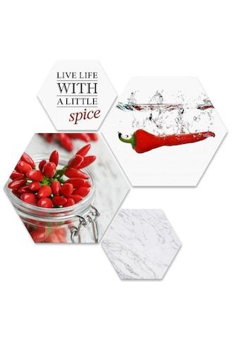 Wall-Art Mehrteilige Bilder »Küchen Deko Chili mit Spruch«, (Set, 4 St.) kaufen