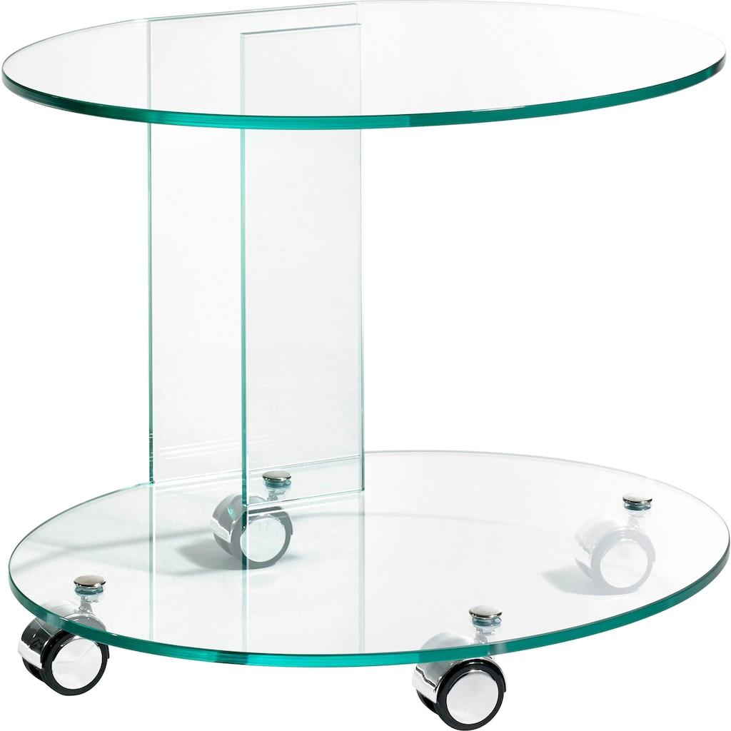 Places of Style Beistelltisch, aus Floatglas, Rollwagen, Küchenwagen