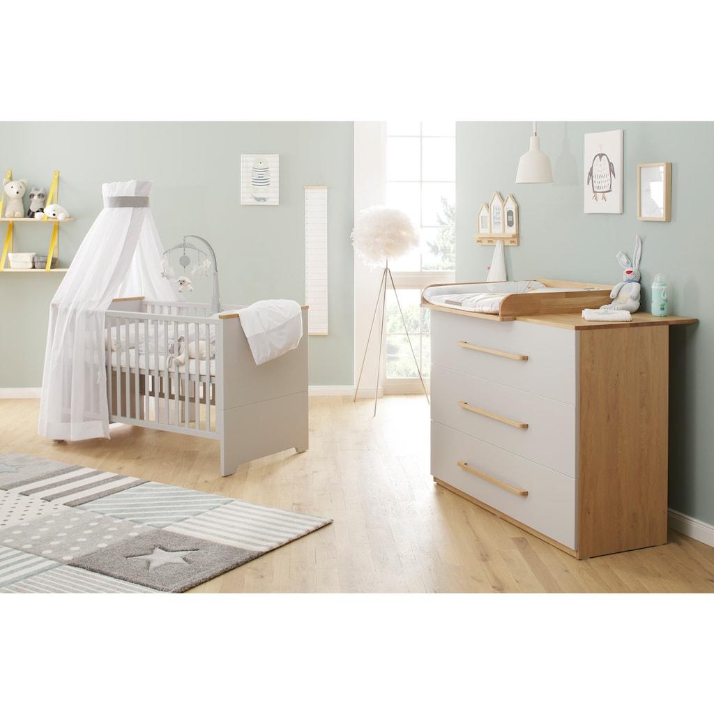 Lüttenhütt Baby Wickelkommode »Lauris, grau/eiche«, bis 8 kg, FSC®-Holz aus gewissenhaft bewirtschafteten Wäldern, 130 cm