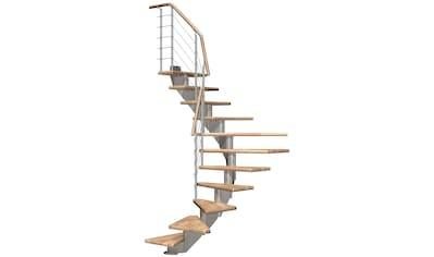 DOLLE Mittelholmtreppe »Hamburg Eiche 75«, bis 279 cm, Edelstahlgeländer, versch. Ausführungen kaufen