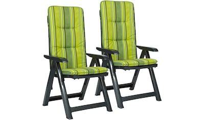 BEST Gartenstuhl »Kansas«, (2er Set), Kunststoff, verstellbar, grün, inkl. Auflage kaufen