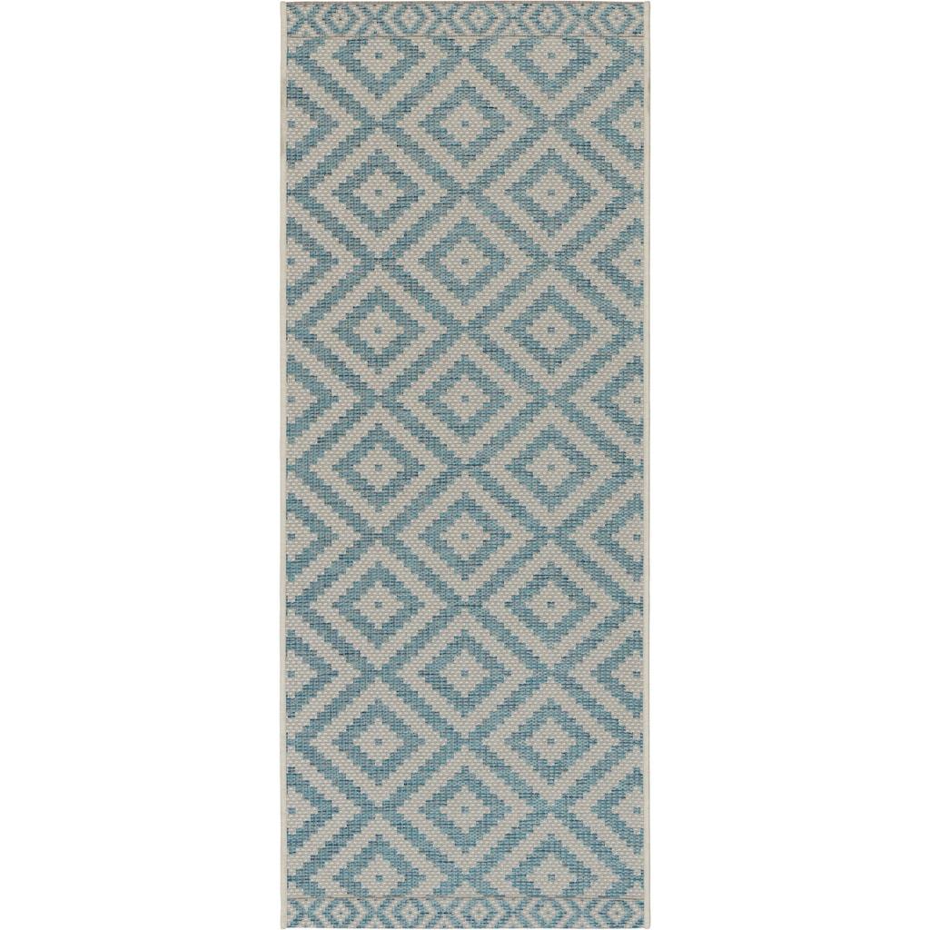 freundin Home Collection Läufer »Summer«, rechteckig, 4 mm Höhe, Flachgewebe, Rauten Design, In- und Outdoor geeignet