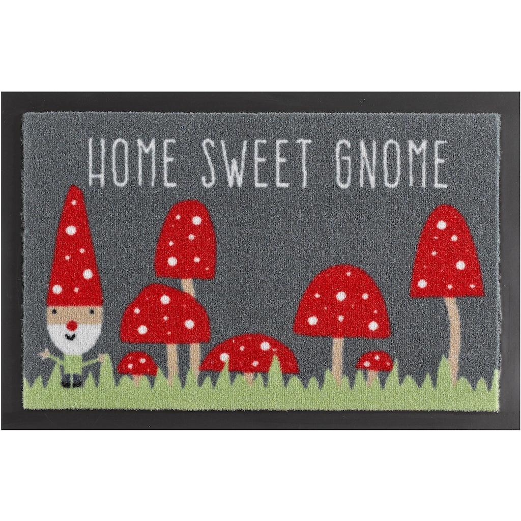 HANSE Home Fußmatte »Home Sweet Gnome«, rechteckig, 7 mm Höhe, Schmutzfangmatte, mit Spruch, rutschhemmend beschichtet