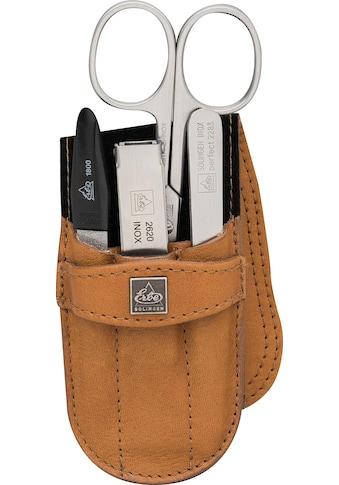 ERBE Maniküre-Etui »Taschenetui mit Steckverschluss aus echtem Leder«, bestückt mit Solinger Premium Stahlwaren in Edelstahl kaufen