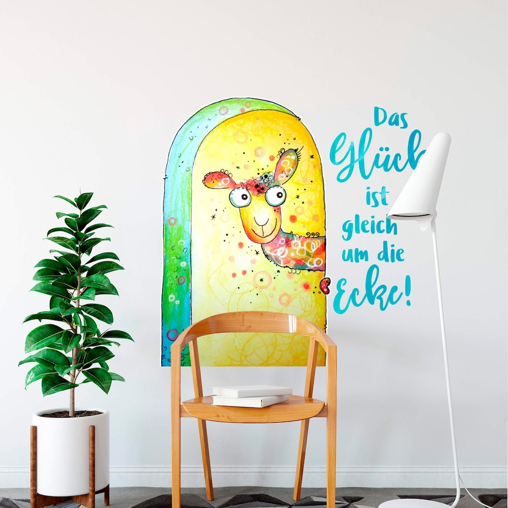 Wall-Art Wandtattoo »Das Glück ist gleich um die Ecke«