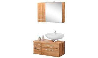 HELD MÖBEL Badmöbel-Set »Davos«, (3 tlg.), Spiegelschrank mit LED-Beleuchtung, Hängeschrank und Waschbeckenunterschrank kaufen