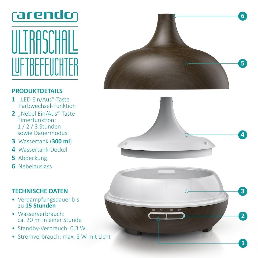 Arendo Diffuser »0,3L Diffusor / Timer Funktion / 7-Farben Wechsel«, 0.3 l Wassertank, in Holz Design mit LED