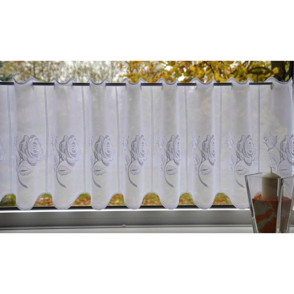 Stickereien Plauen Scheibengardine »Rosentraum«