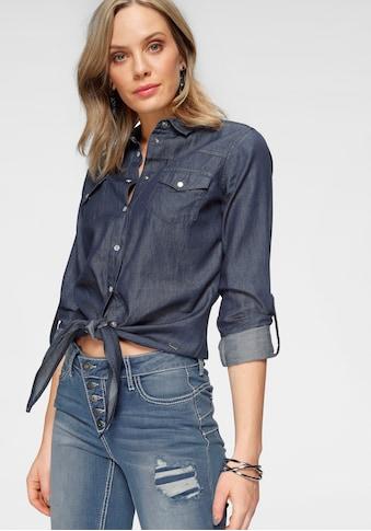 Arizona Jeansbluse »vorn zu knoten«, und Krempelärmel kaufen