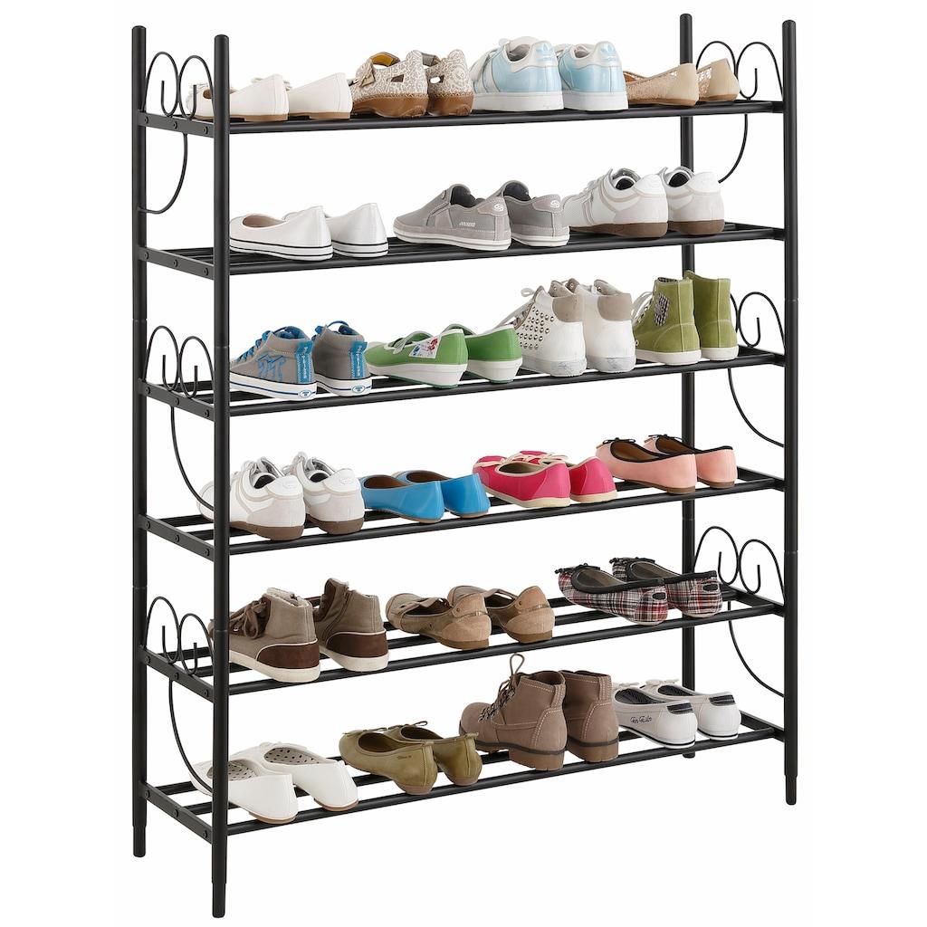 Home affaire Schuhregal »Princess«, (3 St., bestehend aus 3 Regalen), 3er Set, Platz für ca. 24-30 Paar Schuhe (ohne Absatz), Höhe 120 cm