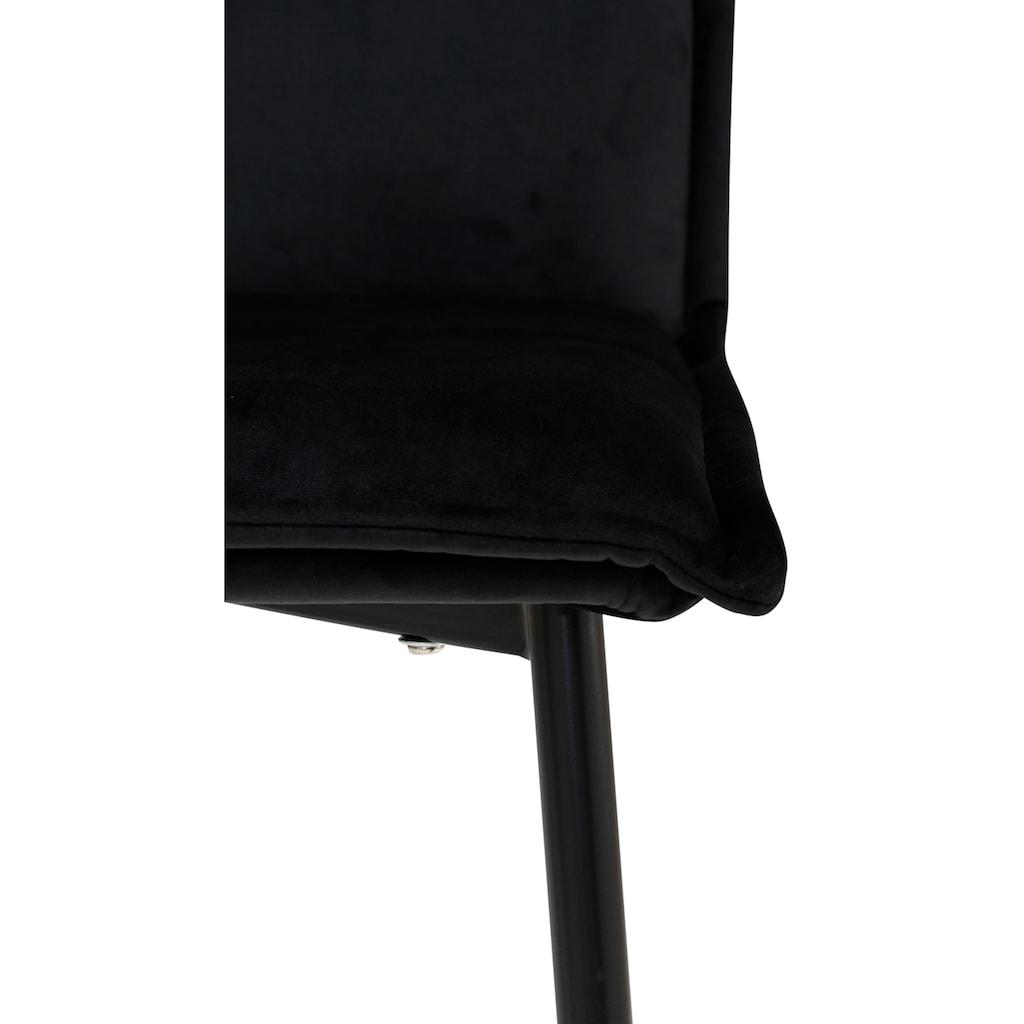 my home Esszimmerstuhl »Meila«, mit einem schönen pflegeleichtem Samtvelours Bezug und schwarzen Metallbeinen