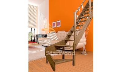 STARWOOD Raumspartreppe »Rhodos«, offene Stufen, 1/4 rechts gewendelt, Holz - Edelstahlgel. re kaufen