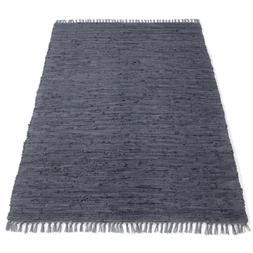 Hochflor-Teppich »Finni«, rechteckig, 4 mm Höhe, Wendeteppich mit Fransen