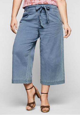 Sheego Stretch-Jeans, mit High-Waist-Bund und Bindegürtel kaufen