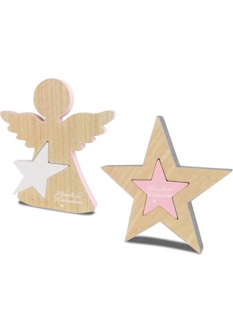 Dekoobjekt »Himmlische Weihnachten« (Set, 2 Stück, bestehend aus 1x Engel und 1x Stern) kaufen