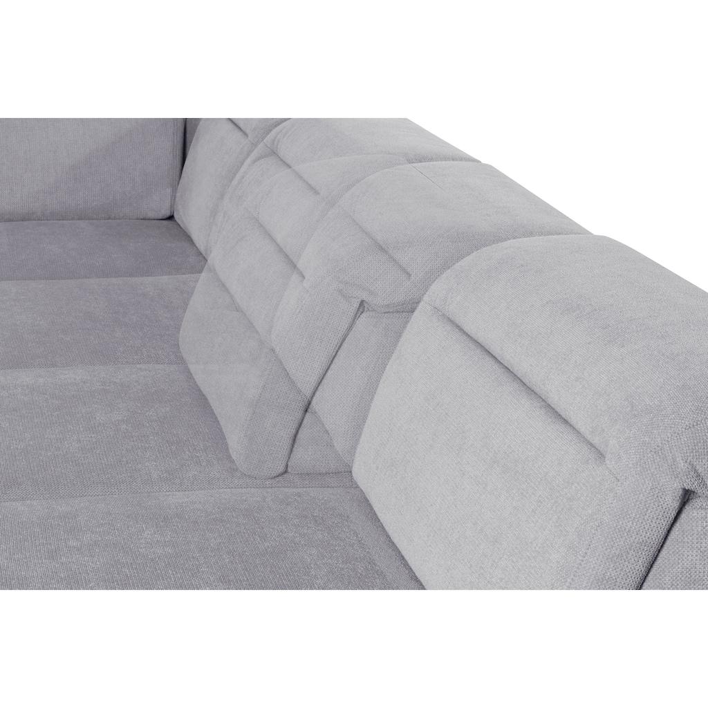 sit&more Wohnlandschaft, 15 cm Fußhöhe, inklusive Sitztiefenverstellung, wahlweise Kopfteilverstellung, wahlweise in 2 unterschiedlichen Fußfarben