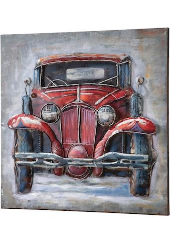 GILDE GALLERY Metallbild »Bild Oldtimer II«, Auto, (1 St.), handgearbeitetes Bild, 60x60 cm, aus Metall, Motiv Oldtimer, Wohnzimmer kaufen