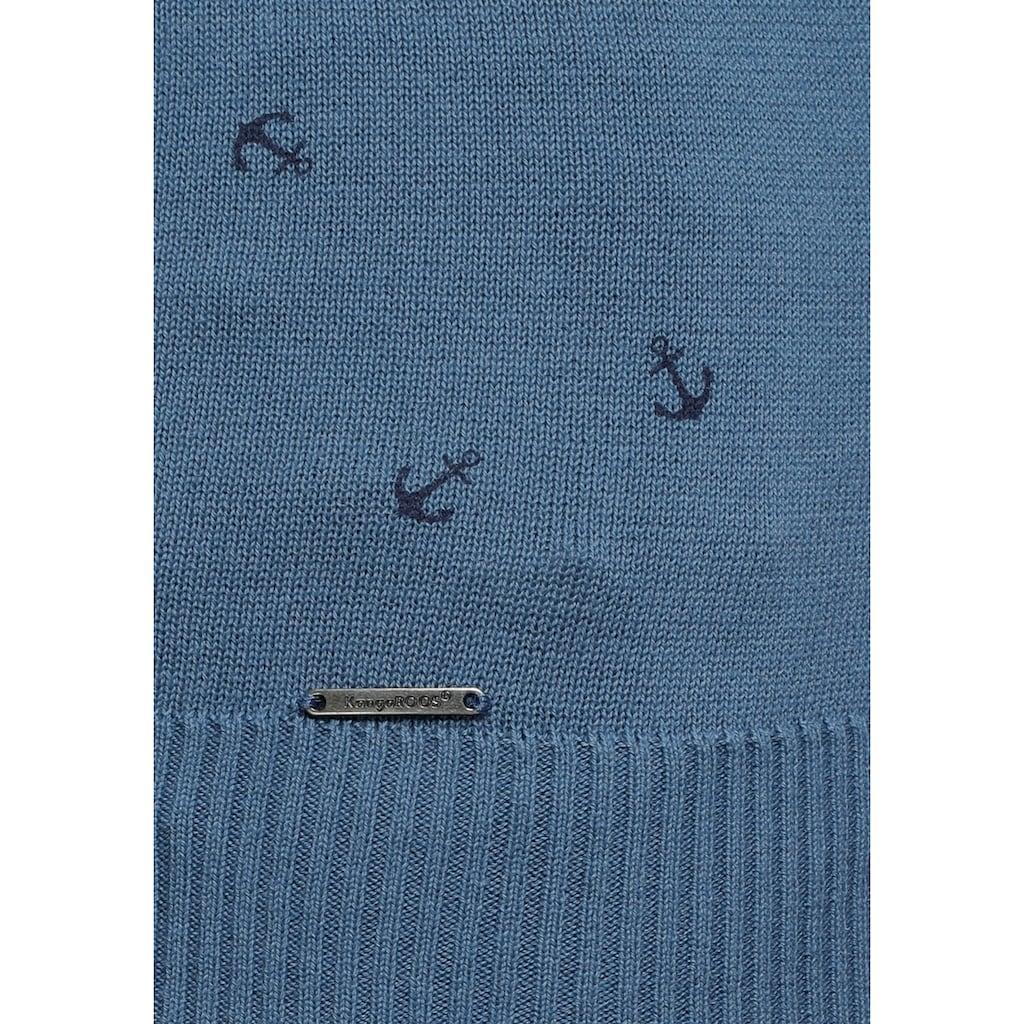 KangaROOS Rundhalspullover, mit modisch dezentem Allover-Print