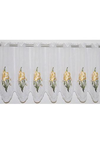 Stickereien Plauen Scheibengardine »Narzisse«, veredelt mit echter Plauener Spitze Stickerei kaufen