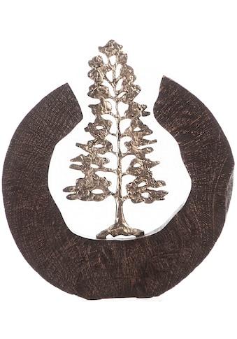GILDE Dekoobjekt »Skulptur Fir Tree, schwarz/silberfarben«, Höhe 39 cm, handgefertigt, aus Metall und Holz, Motiv Baum, Wohnzimmer kaufen