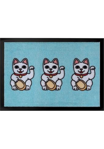 HANSE Home Fußmatte »Three Lucky Cats«, rechteckig, 7 mm Höhe, Schmutzfangmatte kaufen