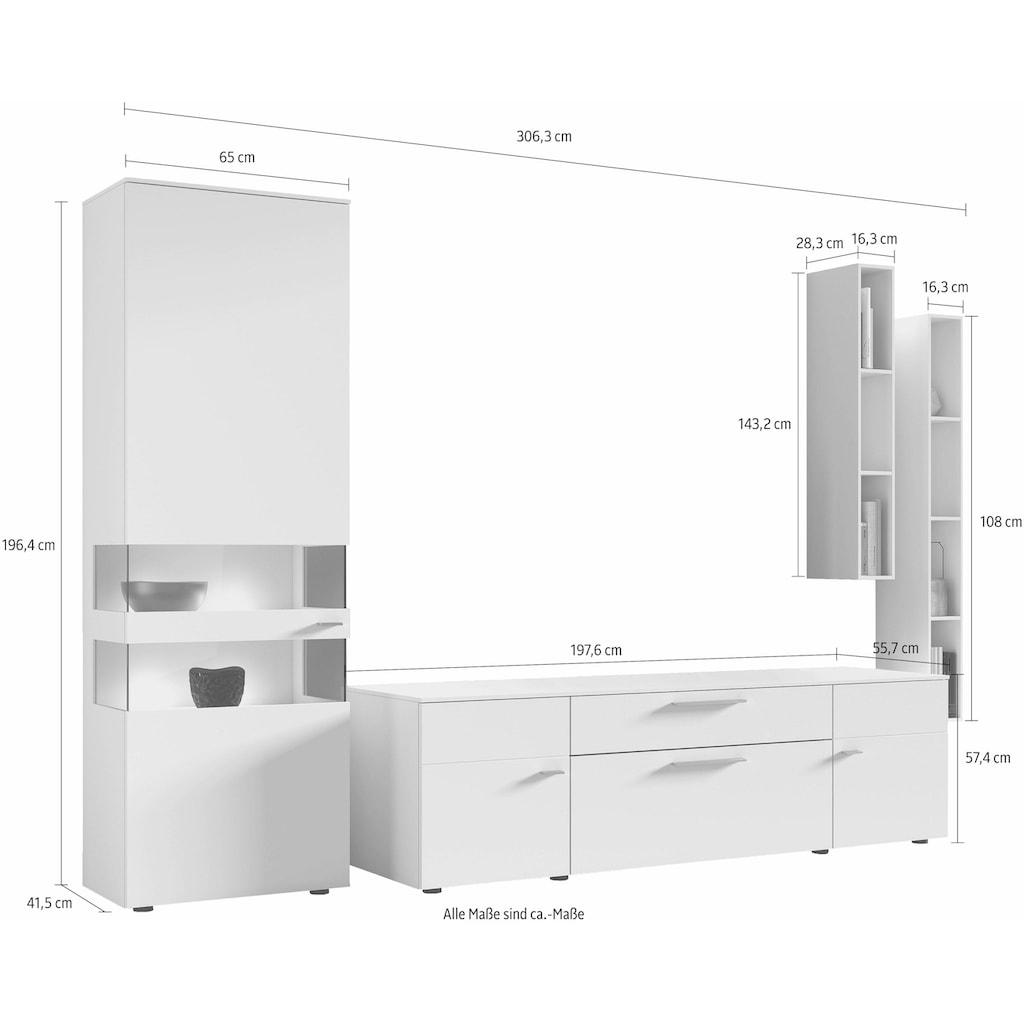 GWINNER Wohnwand »ANZIO«, (Set, 4 St.), in Lack weiß, mit zwei Hängeregalen