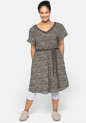 Sheego Shirtkleid, mit V-Ausschnitt und Bindeband kaufen
