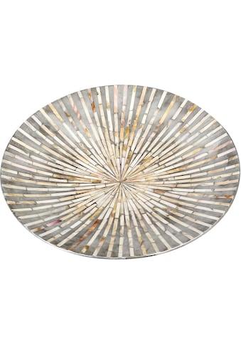 Casablanca by Gilde Dekoschale »Holzschale Vista perlmutt/grau«, handgerfertigt, rund, Ø 45 cm, flach, Wohnzimmer kaufen