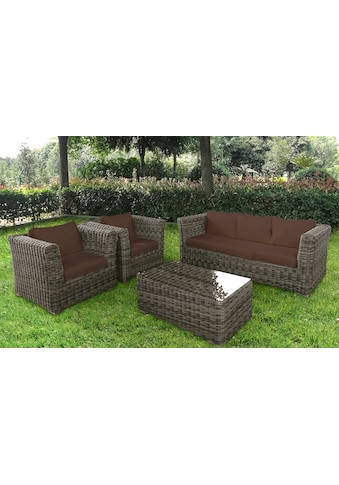 BAIDANI Loungeset »Funky«, 14 - tlg., 2 Sessel, 3 - Sitzer, Tisch 58x100 cm, Polyrattan kaufen